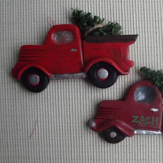 Little Red Truck ~ hand built polymer clay ornament by JessiesCornerClay on Etsy