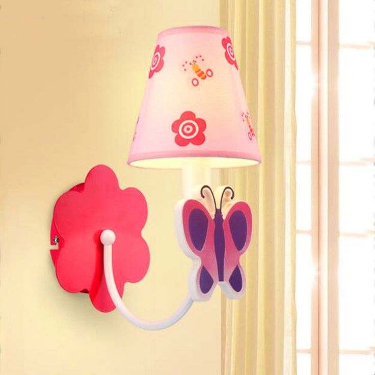 Simple Kids Wall Lamp Bedroom Creative Children Light Pink Butterfly Romantic Led