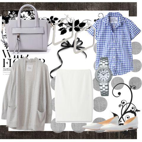 #きれいめ #シャツ #タイトスカート #バッグ #3色コーデのコーディネート詳細[3406821]