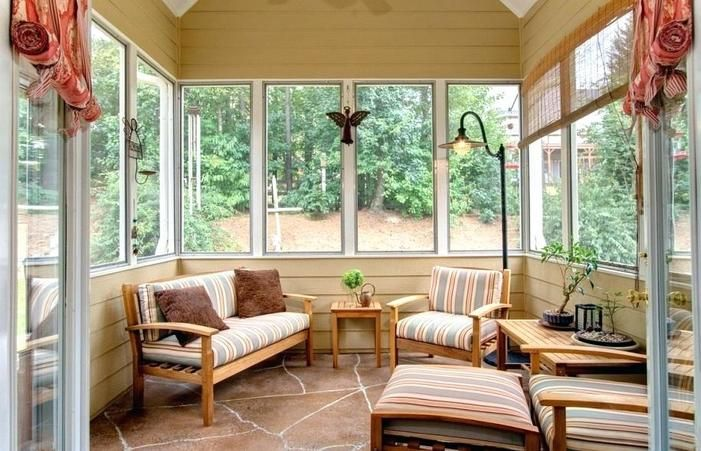 Sun Porch Furniture Ideas Designs Porches Decorating Small Room Shades For Patios Furnishing Sunroom Shade