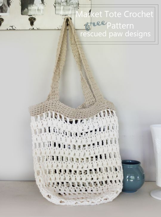 Market Tote Bag Crochet Pattern || Rescued Paw Designs ༺✿ƬⱤღ  https://www.pinterest.com/teretegui/✿༻