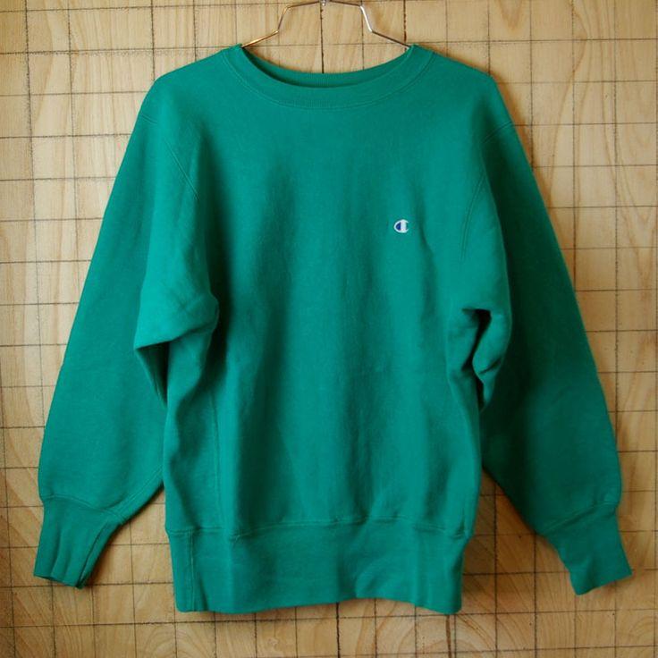 【Champion】USA製リバースウィーブ古着80s後期刺繍タグワンポイントグリーン(緑)スウェット サイズM