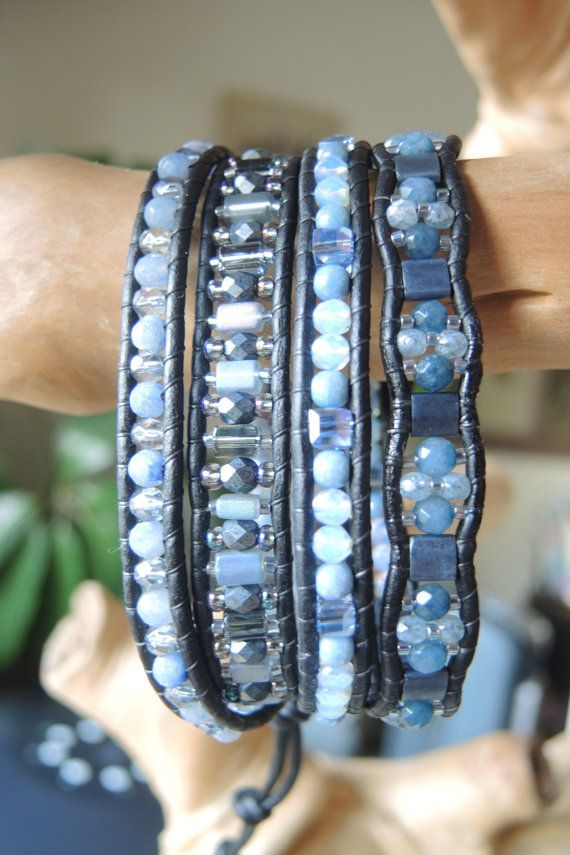 Designed and handmade by myself in North Carolina USA    COOL BLUES in this 4 Wrap Black Greek Leather Bracelet....with light sky blues to