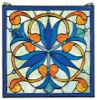 Mokara Orchid Trefoil Floral Stained Glass Window / Design Toscano