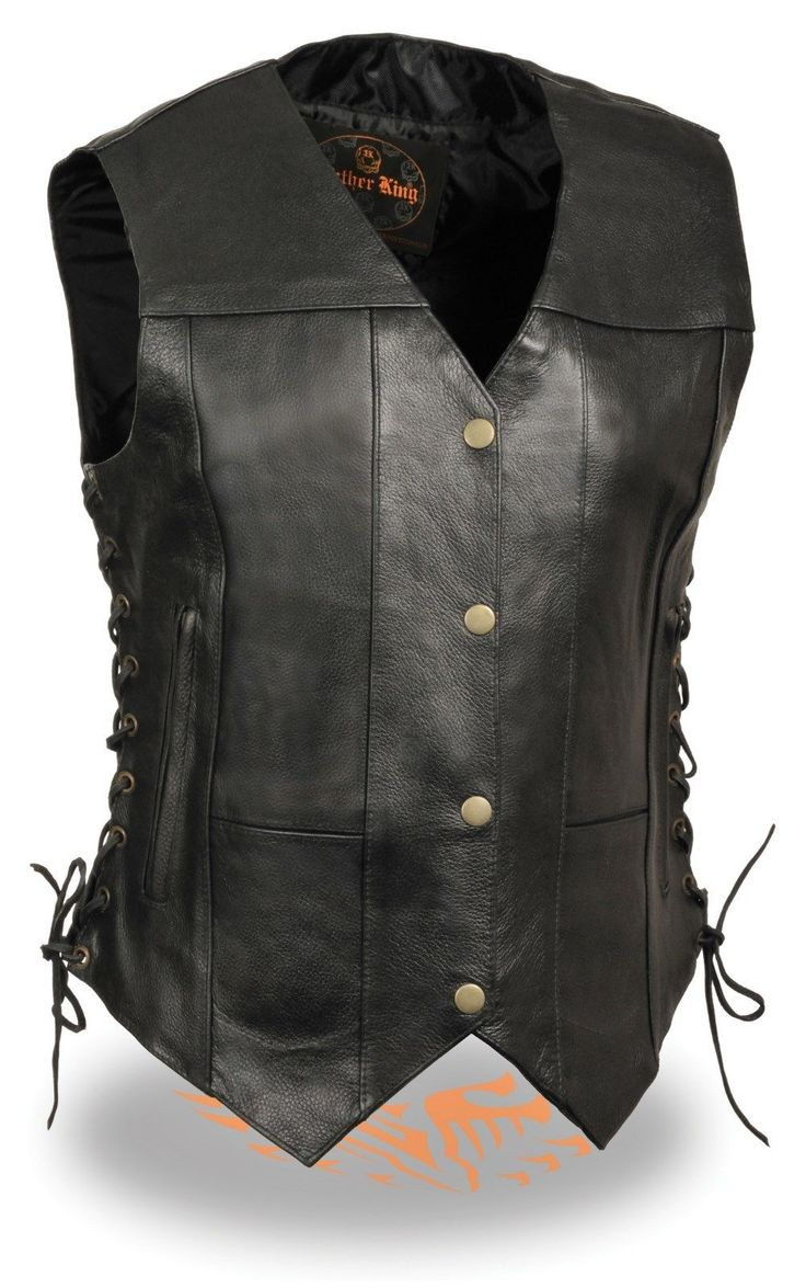 Women's Motorcycle Black 7 Pocket Leather Vest With Side Laces Great Price