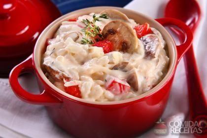 Receita de Arroz cremoso com cogumelo e queijo brie - Comida e Receitas