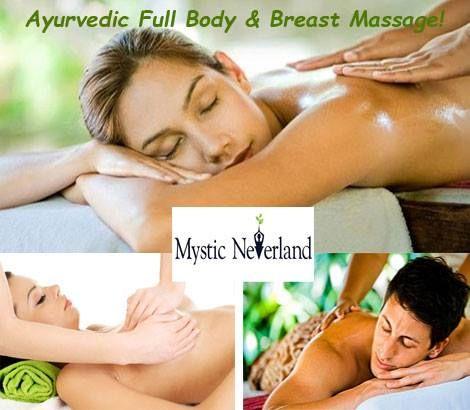 Αyurvedic Full Body & Breast Massage, η ινδική τέχνη της φυσικής θεραπείας! 29€ για ένα Ayurvedic Massage με θεραπευτικά ζεστά αιθέρια έλαια, για άντρες και γυναίκες διάρκειας 60'. Το αγιουρβέδικό μασάζ είναι η πρωταρχική θεραπεία της Αγιουρβέδα. Μέσω της χαλάρωσης του σώματος μας επιτρέπεται να εντοπίσουμε την μπλοκαρισμένη ενέργεια που συσσωρεύτηκε στο σώμα και μας επιφέρει ενοχλήσεις και πόνους....! Μια προσφορά από τον Εναλλακτικό Διαδραστικό Πολυχώρο Mystic Neverland Reiki Academy.