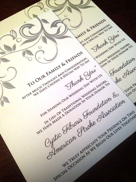 Wedding Donation Cards In Lieu Of a Favor by CupcakeGraphics1, USD3.75 ...