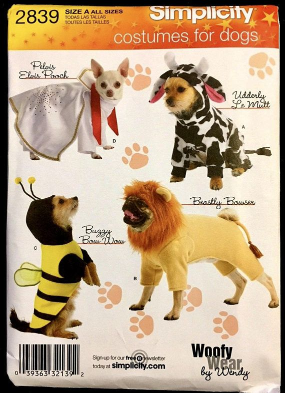 Dog Costume Sewing Pattern Dog Pet Elvis Lion Bee Cow