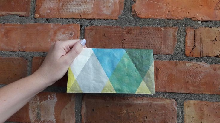 Azumi triangles tyvek clutch wallet.  Slim and eco-friendly