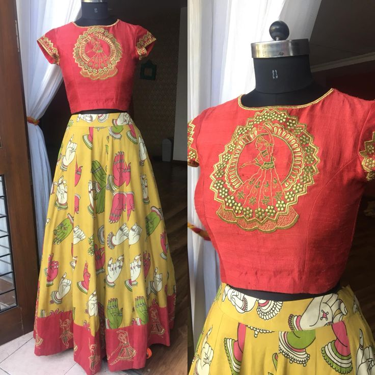 Fall in Love with Kalamkari . Beautiful kalamkari skirt with hand mudra design. Crop top with dancing doll design hand embroidery thread work. To place order :- Mail :- sonyreddy24@gmail.com Call or whtsapp:-8008100885 .