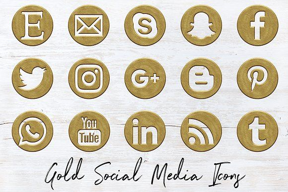 Antique Gold Social Icons Set by North Sea Studio on @creativemarket