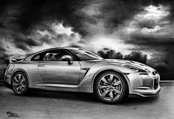 Nissan GTR - Desen în Creion de Corina Olosutean // Nissan GTR - Pencil Drawing by Corina Olosutean