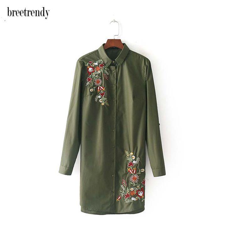 X839 moda mujeres floral bordado de manga larga de color sólido camisa de algodón señoras de la blusa gira el collar abajo blusas largas blusas en Blusas y Camisas de Moda y complementos de mujer en AliExpress.com | Alibaba Group