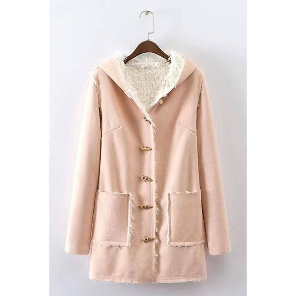 Yoins Yoins Suede Toggle Duster Coat (€38) ❤ liked on Polyvore featuring outerwear, coats, coats & jackets, khaki, faux suede coat, hooded toggle coat, pink coat, fur lined suede coat and toggle button coat