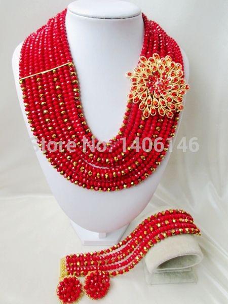 2014 продвижение настоящее бесплатная доставка романтический женщины ювелирные изделия устанавливает великолепный кристалл нигерии свадьба африканские бусины комплект ювелирных изделий Ab2402