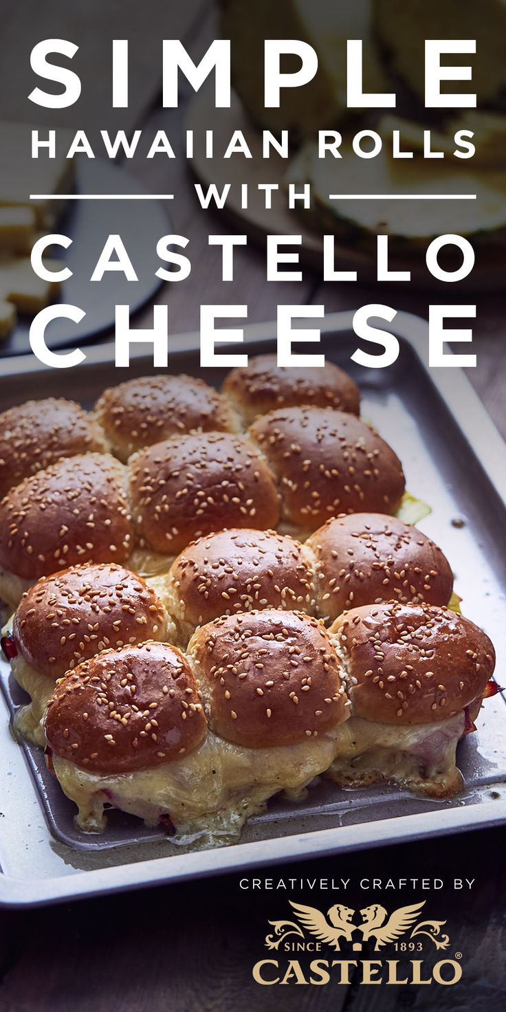 Take these Hawaiian ham rolls topped with Castello Extra Mature Cheddar from football season to awards season. Find the recipe here. #awardsseason #football #tailgate #cheese