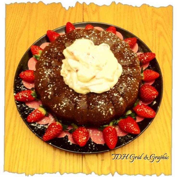 ~Chocolate Cake with Blackberry Balsamic Vinegar Whip Cream~