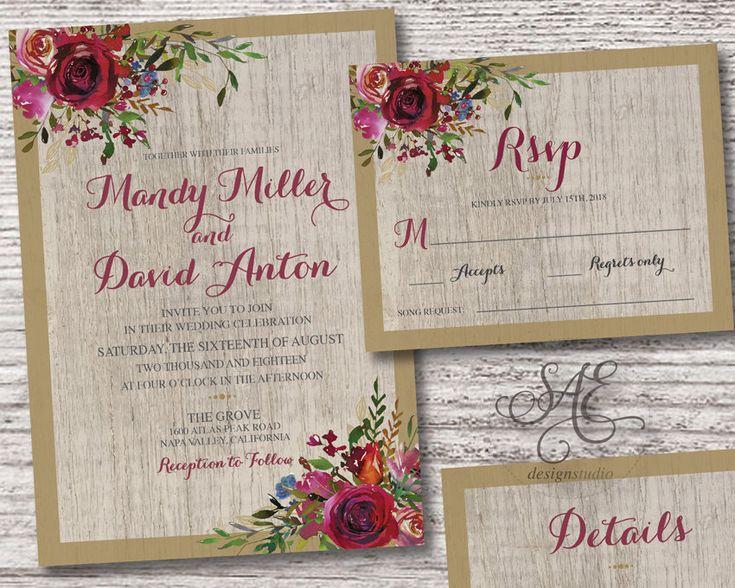 Burgundy Gold Floral Wedding Invitation Invitations Rsvp