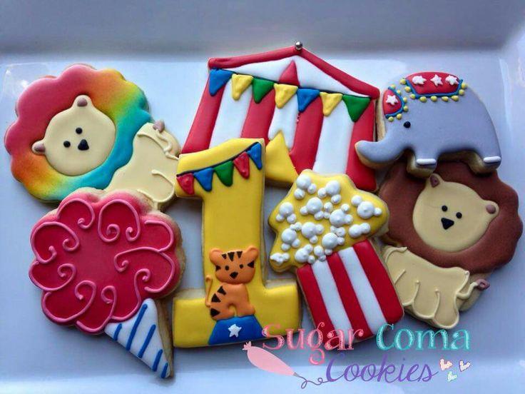 Sugar Coma Cookies:  Circus theme for 1st Birthday