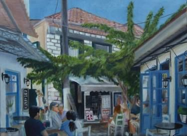 "Saatchi Art Artist ΑγγελικΗ  Aggeliki; Painting, ""Seitan-Pazar"" #art Oil on Canvas.  Size: 40 H x 55 W x 1.5 cm  Seitan Pazar is a short, graphic road at a Greek town, Preveza. It is said that a turkish aga named this road so, when he felt there cause it was very slippery and made him mad..."