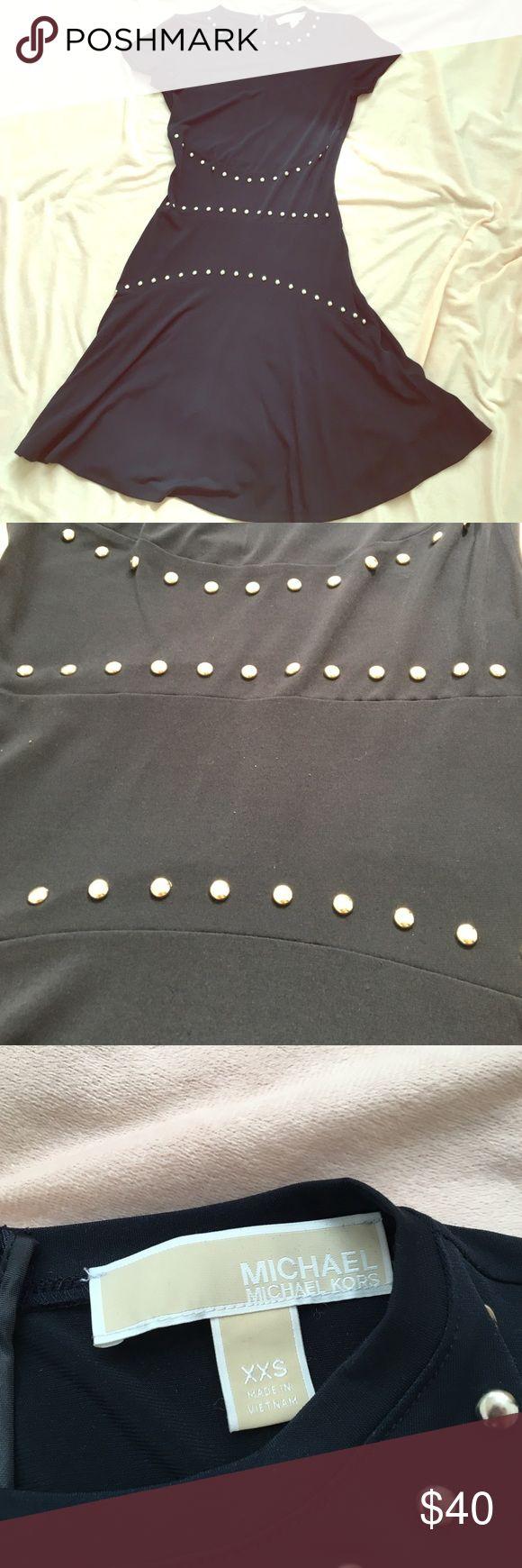 Michael Kors navy skater dress Gently used studded skater dress. Size XXS fits like XS. Stretchy material. Michael Kors Dresses Midi