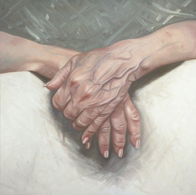 made by: Ans Markus , 'De oude handen van mijn moeder' (The old hands of my mother) - painting 2005