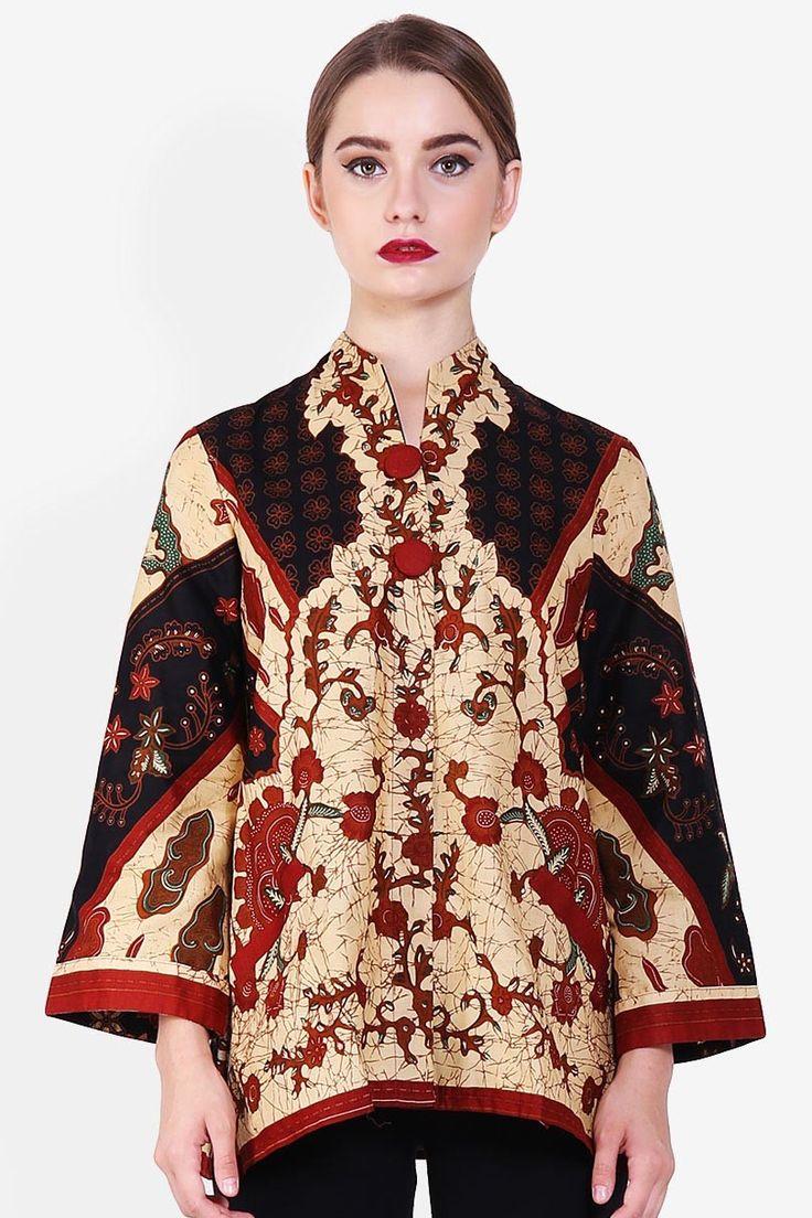 Arjuna Weda Blouse Batik Sinaran 5 Cokelat