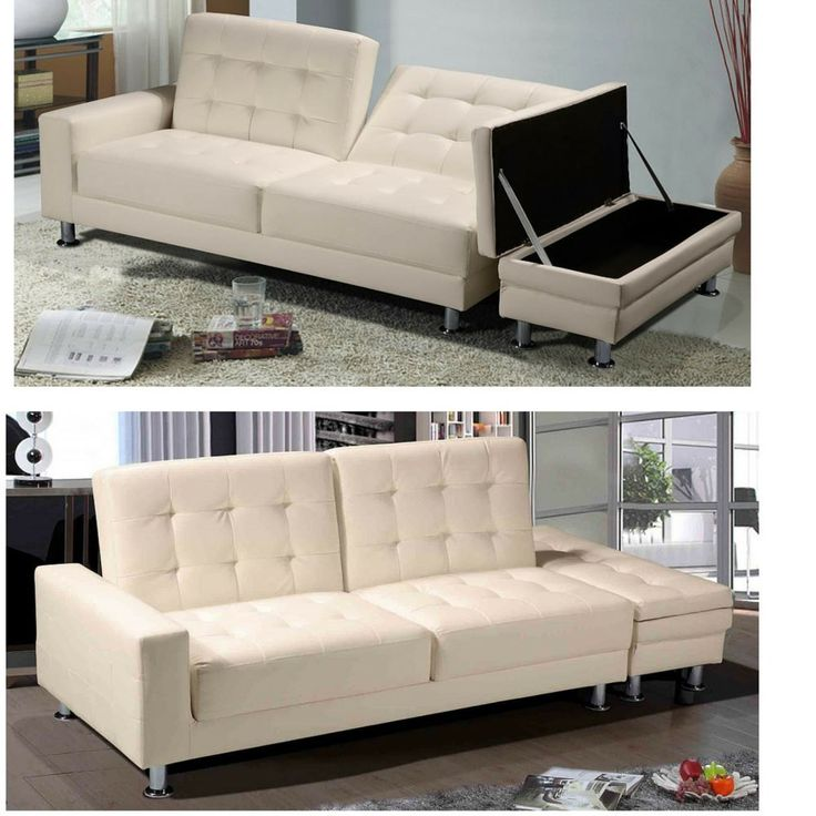 Beige Faux Leather Sofa Bed Living Room Furniture Storage Ottoman Modern  Seats In Home, Furniture Part 84