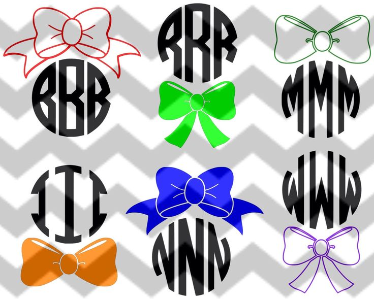Monogram Bows Cut Files for use with Circle Monogram Font and the Silhouette Studio Software, Make the Cut and SCAL DFX / SVG /  pdf by HWHBoutiqueLLC on Etsy https://www.etsy.com/listing/216806983/monogram-bows-cut-files-for-use-with