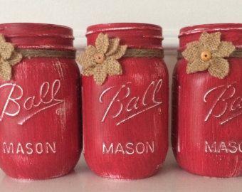 Painted Mason Jars. 1 quart and 2 pint. by JenmarksCraftyShop