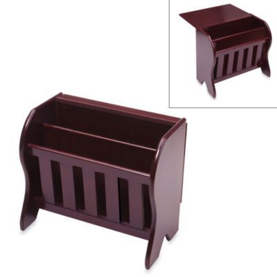 Farmhouse Espresso Magazine Rack with Drop Leaf Top - BedBathandBeyond.com