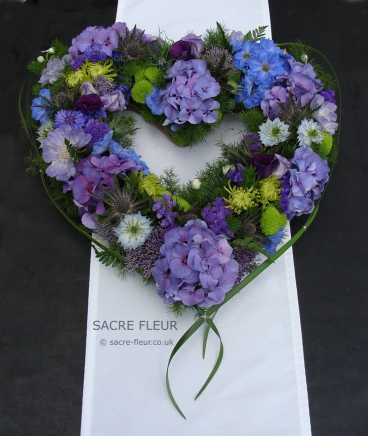 Blues and purples summer heart funeral tribute.
