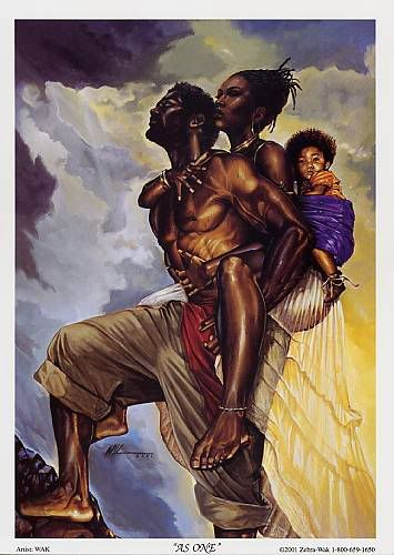 A man who carries his family. (African American Art - by Kevin A. Williams.)