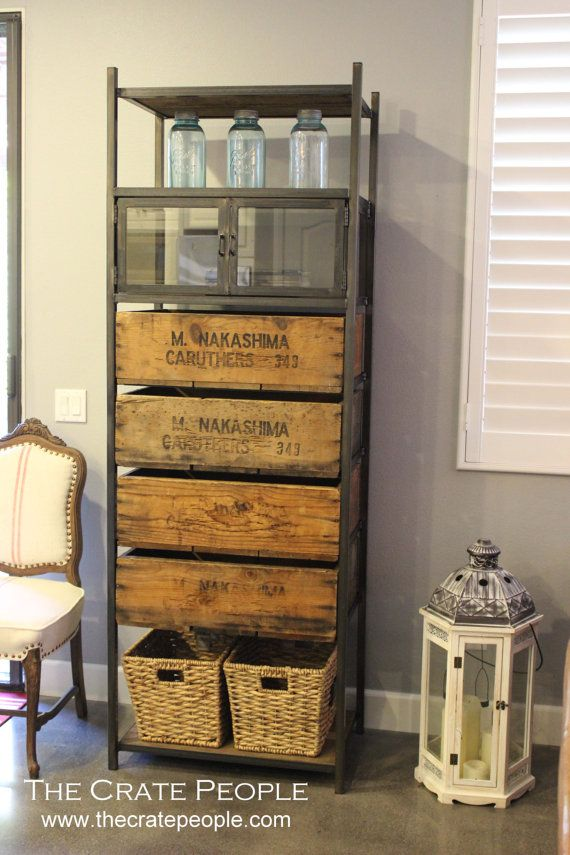 storage cabinet for bedroom, living room, bathroom made using vintage wood crates, barn wood and metal  4 Drawer Media Tower or Storage Cabinet  Vintage by FoundInAttic