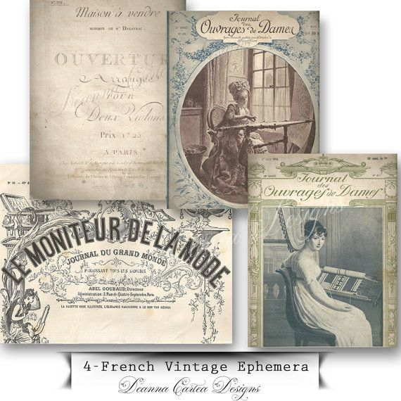 French Vintage Antique Ephemera Printables digital by DeannaCartea
