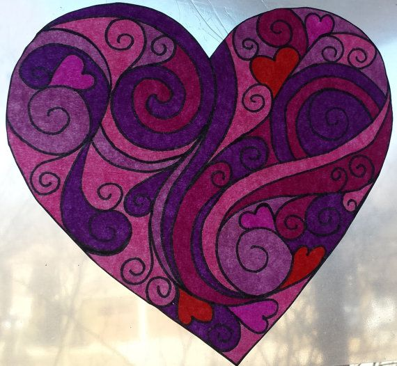 Stained Glass Window Cling, window decal, decorative window film, faux stained glass, celtic decals, knots and hearts, custom window film