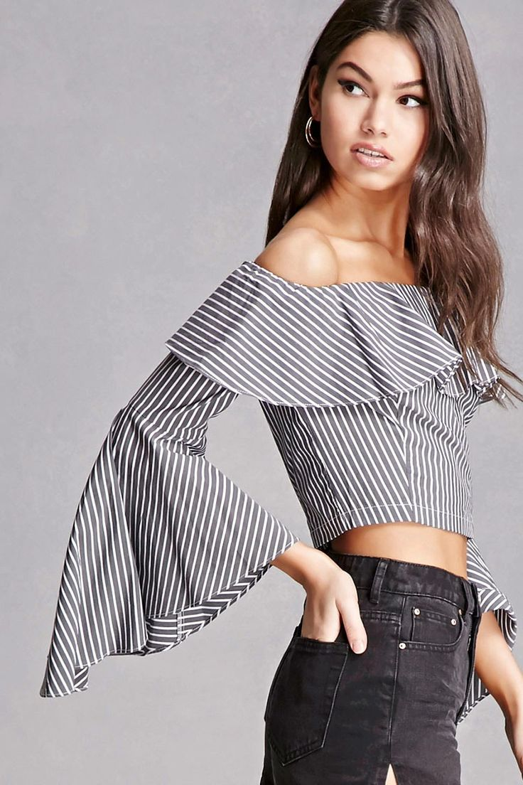 A woven top featuring a pinstripe design, flounced off-the-shoulder neckline, long bell sleeves, exposed back zipper, and a cropped silhouette. This is an independent brand and not a Forever 21 branded item.