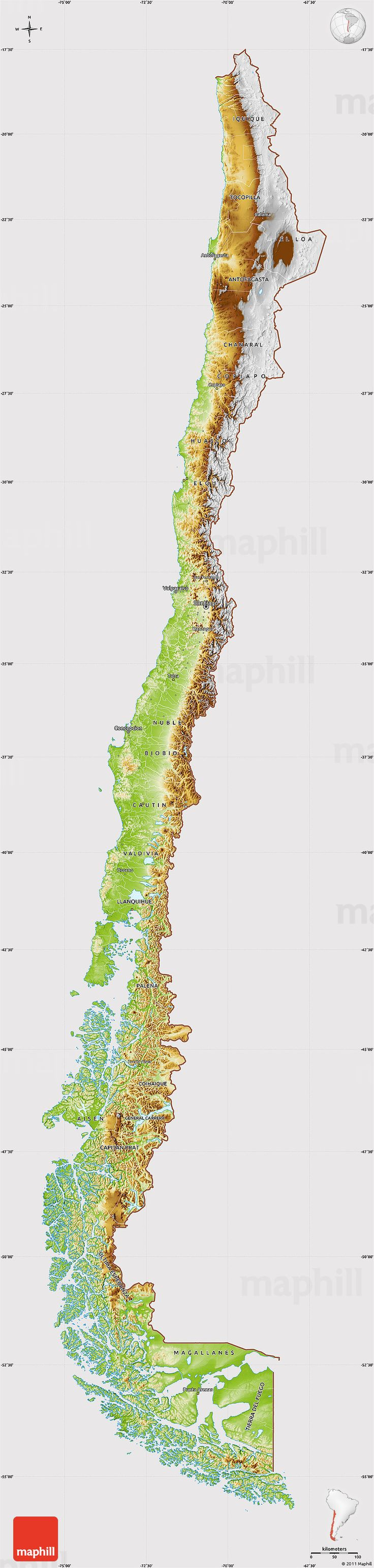 Physical Map of Chile cropped outside 12