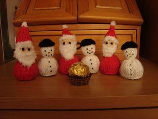 Free Christmas Knitting Patterns: SNOWMAN AND SANTA CHOCOLATE DECORATIONS
