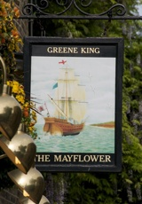 The Mayflower    Named for the ship which left here in 1620 with the Pilgrim Fathers bound for America. Its captain, Christopher Jones, died in 1622 and is buried in the nearby St Mary's Church. This is the only place in England licensed to sell American stamps.    17 Rotherhithe Street SE16  Tel: +44 (0)20 7237 4088  Tube: Rotherhithe