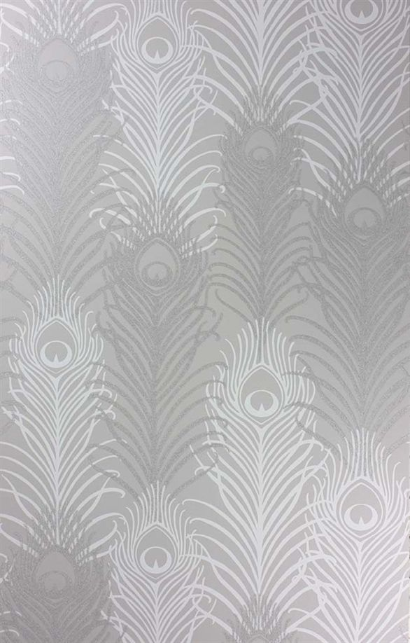 I found it! The wall paper from Cafe L'Aube in Philly  Go peacock or go home!  Pippy's Peacock Wallpaper - Silver