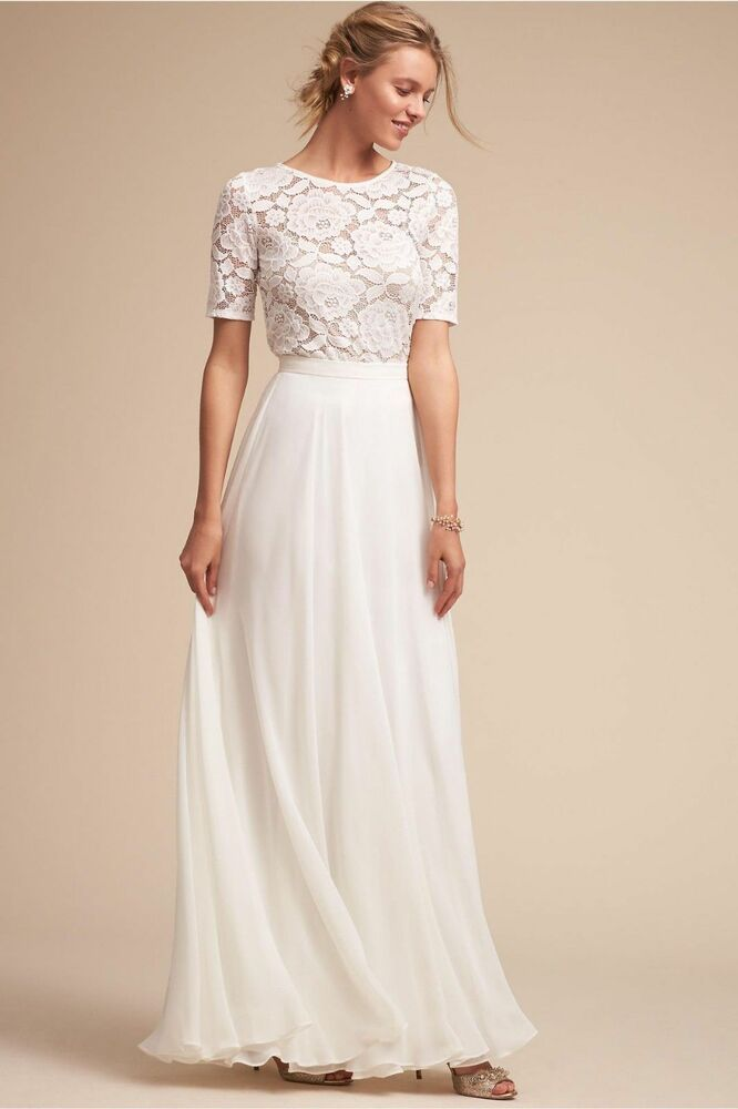 Long Lace Evening Dress Half Sleeve Wedding Dresses Bridesmaid