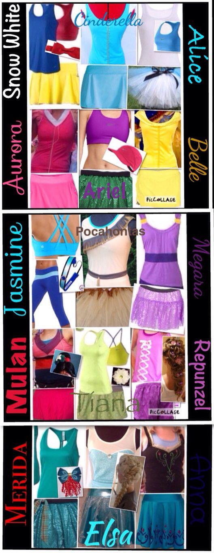 Run Disney outfit ideas: Snow White, Cinderella, Alice, Aurora, Ariel, Belle, Jasmine, Pocahontas, Megara, Mulan, Tiana, Repunzel, Merida, Elsa, Anna