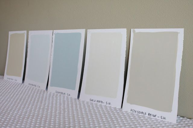 Sherwin-Williams Paint Colors: Softer Tan, Mountain Air, Sleepy Blue, Shoji White, Accessible Beige