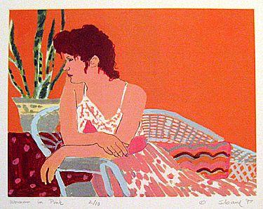 """Woman in Pink"" heat transfer print , 1997"