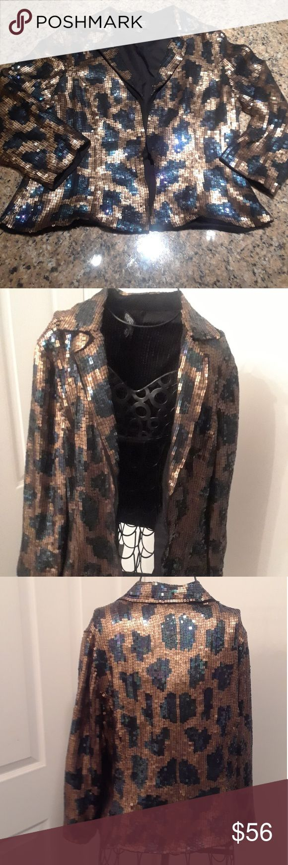Adrianna  Papell Evening Essentials Sequin Jacket Crop animal print sequin evening jacket. Bracelet length sleeves. Dress up or down. Preloved, with few defects...see photos. Size 14, fits like size 12. Adrianna Papell Jackets & Coats