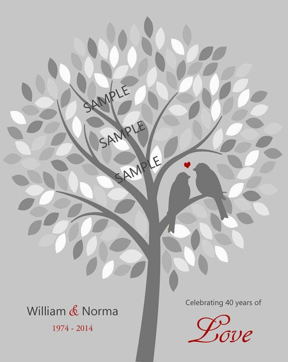 40th Anniversary Tree Print (charcoal, red heart, multi-colored gray