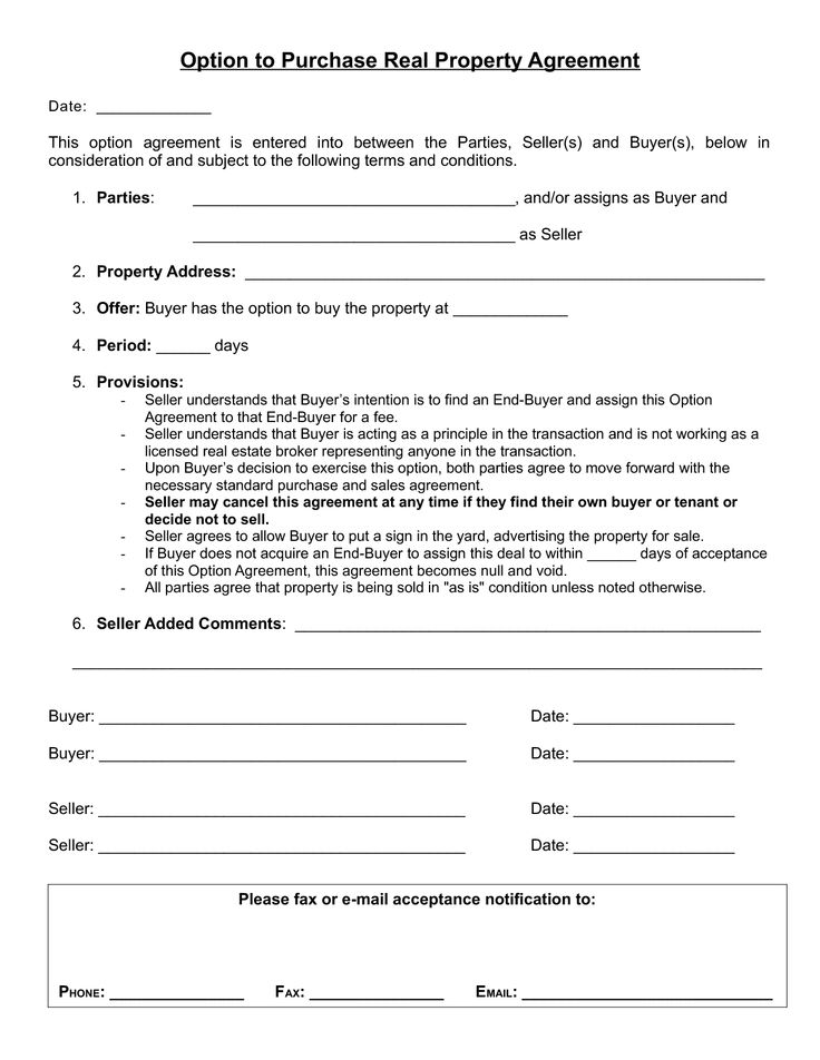 Option to purchase agreement selling purchase agreement