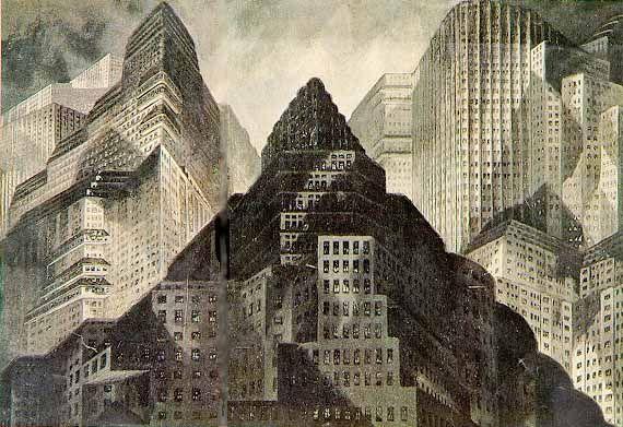 Metropolis 1927 - Film Archive - Erich Kettelhut Drawings 1925-6. Dawn, oil and gouache on cardboard, 39 x 54.5 cm. Part of opening sequence. (c) Filmmuseum Berlin - Deutsche Kinemathek.